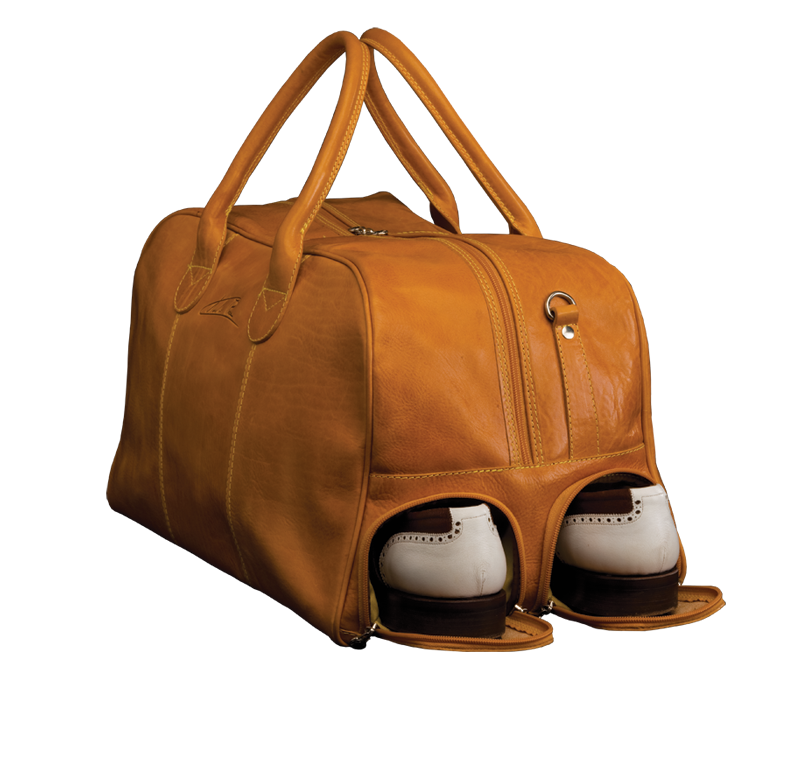 All-in-One Golf Ledertasche colonial-braun seite